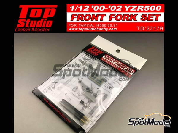 Image 2: Yamaha YZR500 - Motorcycle World Championship 2000, 2001 and 2002 | Front fork set in 1/12 scale manufactured by Top Studio (ref. TD23179)