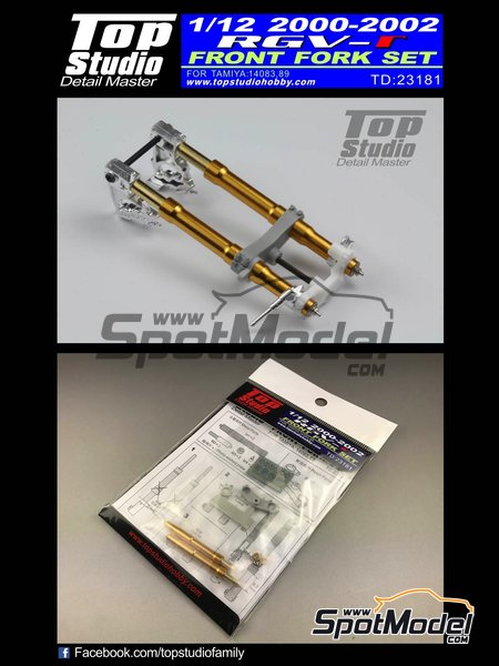 Suzuki RGV-Gamma XR-89 - Motorcycle World Championship 2000, 2001 and 2002 | Front fork set in 1/12 scale manufactured by Top Studio (ref. TD23181) image