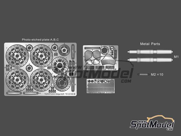 Image 3: Kawasaki Ninja H2R | Set de mejora y detallado en escala1/12 fabricado por Top Studio (ref.TD23182)