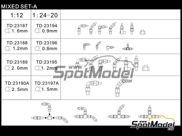 Image 2: Hose joints mix | Hose joints in 1/20 scale manufactured by Top Studio (ref. TD23185)