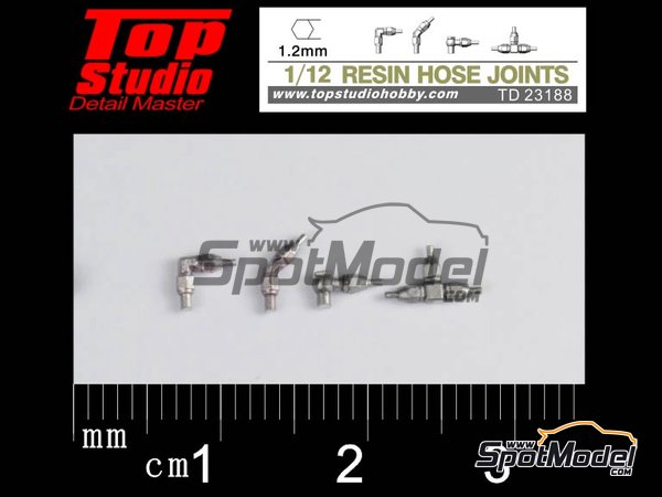 Image 1: Hose joints 1.2mm | Hose joints in 1/12 scale manufactured by Top Studio (ref. TD23188)