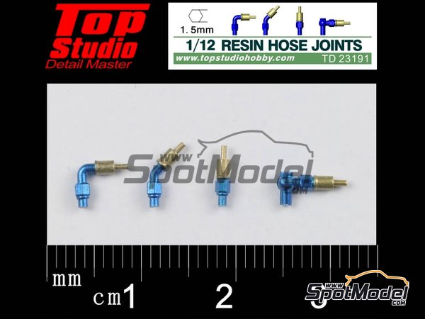 Image 1: Hose joints 1.5mm | Hose joints in 1/12 scale manufactured by Top Studio (ref. TD23191)