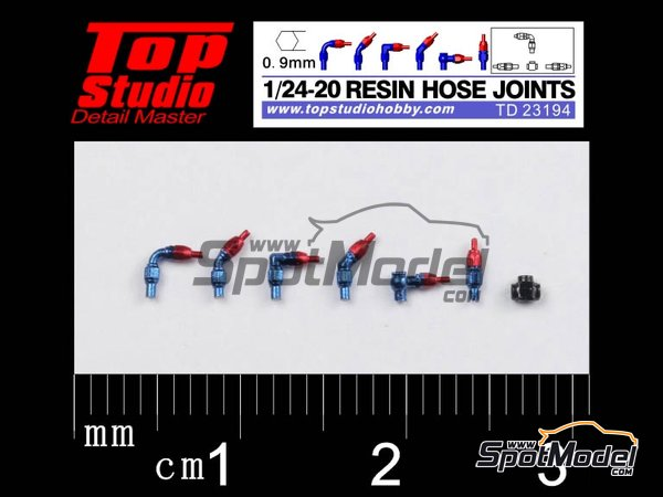 Image 1: Hose joints 0.9mm | Hose joints in 1/20 scale manufactured by Top Studio (ref. TD23194)