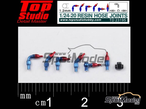 Image 1: Hose joints 1.2mm | Hose joints in 1/20 scale manufactured by Top Studio (ref. TD23195)