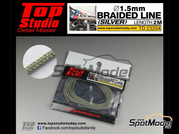 Image 1: Silver braided line 1.5mm | Pipe manufactured by Top Studio (ref. TD23204)