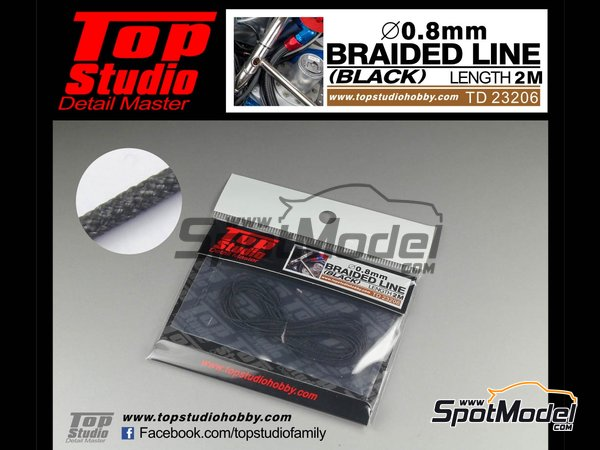 Image 1: Black braided line 0.8mm | Pipe manufactured by Top Studio (ref. TD23206)