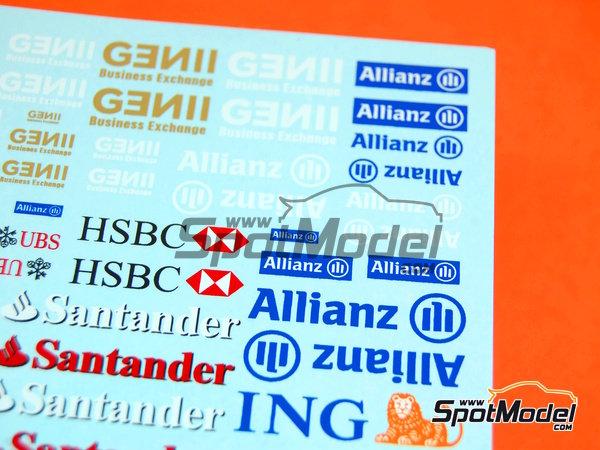 Image 2: Ing Direct, Allianz, HSBC, UBS, Banco Santander, Genii, Master Card | Logotypes in 1/24 scale manufactured by Virages (ref.VIR-264)