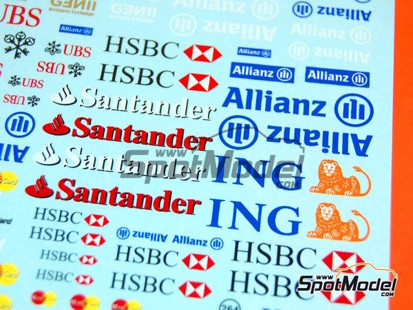 Image 4: Ing Direct, Allianz, HSBC, UBS, Banco Santander, Genii, Master Card | Logotypes in 1/24 scale manufactured by Virages (ref.VIR-264)