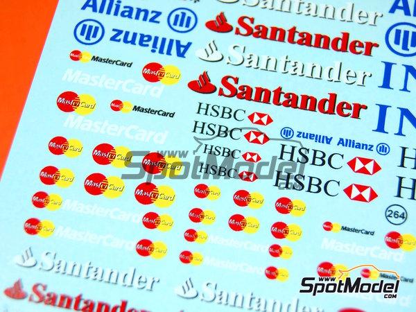 Image 5: Ing Direct, Allianz, HSBC, UBS, Banco Santander, Genii, Master Card | Logotypes in 1/24 scale manufactured by Virages (ref.VIR-264)