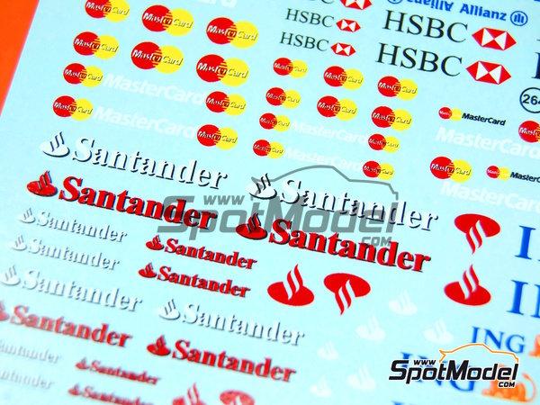 Image 6: Ing Direct, Allianz, HSBC, UBS, Banco Santander, Genii, Master Card | Logotypes in 1/24 scale manufactured by Virages (ref.VIR-264)