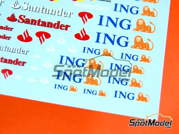Image 7: Ing Direct, Allianz, HSBC, UBS, Banco Santander, Genii, Master Card | Logotypes in 1/24 scale manufactured by Virages (ref.VIR-264)