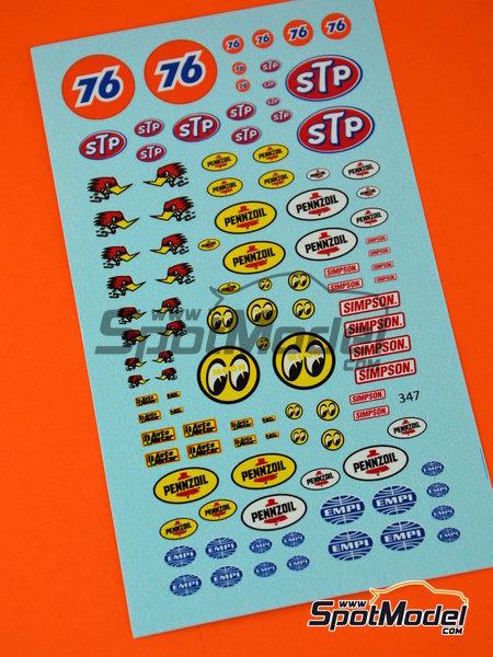 STP, Empi, Pennzoil, Simpson   Logotipos en escala1/24 fabricado por Virages (ref.VIR-347) image