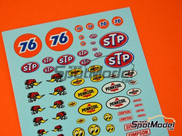 Image 1: STP, Empi, Pennzoil, Simpson   Logotipos en escala1/24 fabricado por Virages (ref.VIR-347)