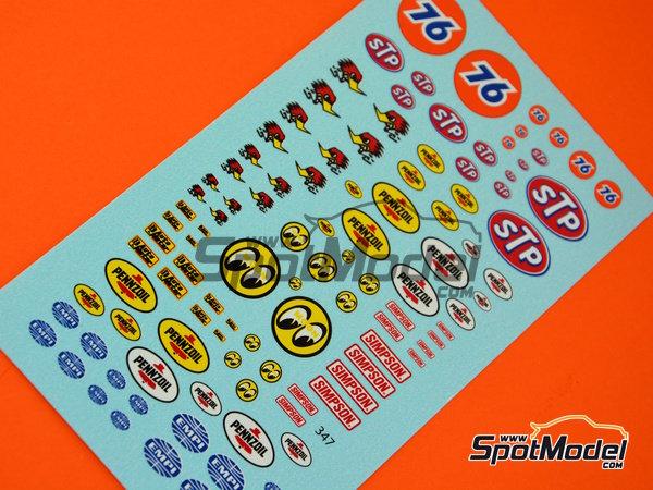 Image 3: STP, Empi, Pennzoil, Simpson   Logotipos en escala1/24 fabricado por Virages (ref.VIR-347)