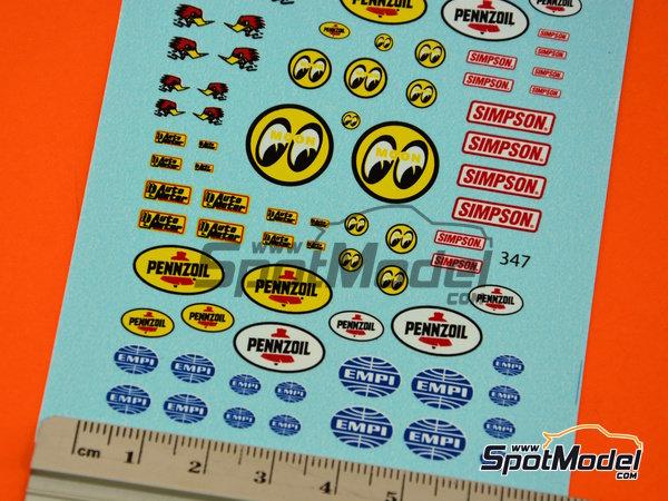 Image 6: STP, Empi, Pennzoil, Simpson   Logotipos en escala1/24 fabricado por Virages (ref.VIR-347)