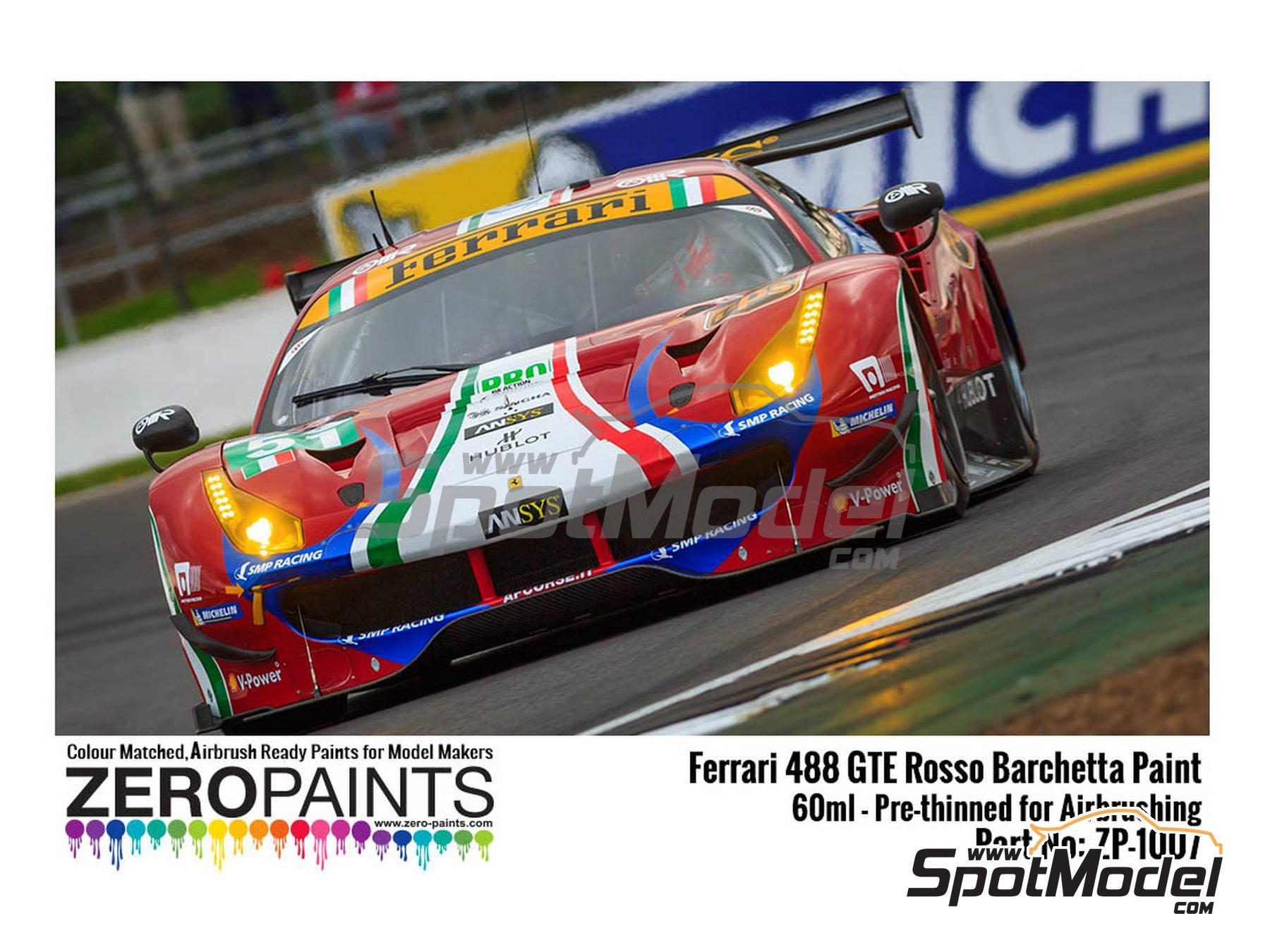 Image 1: Ferrari 488 GTE AF Corse Rosso Barchetta 312 - 1 x 60ml | Paint manufactured by Zero Paints (ref.ZP-1007-488GTE-312)