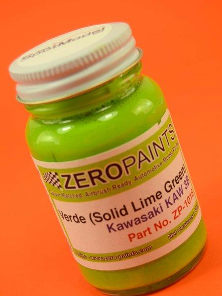 Verde lima para KR500, KR1000F,  etc Kawasaki - Kawasaki Solid Lime Green - KR500, KR1000F,  etc  - Code: KAW3B - 1 x 60ml | Pintura fabricado por Zero Paints (ref.ZP-1018-KAW3B) image
