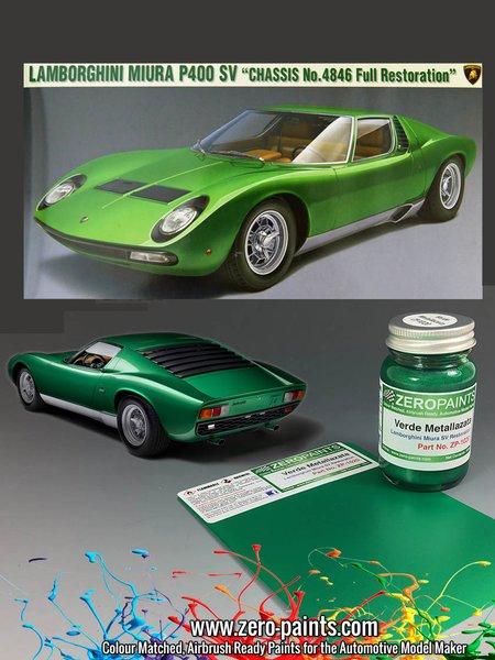 Lamborghini Miura P400 SV Full Restoration Verde Metallazata Green - Code: 4846 - 1 x 60ml   Paint manufactured by Zero Paints (ref.ZP-1020-4846) image