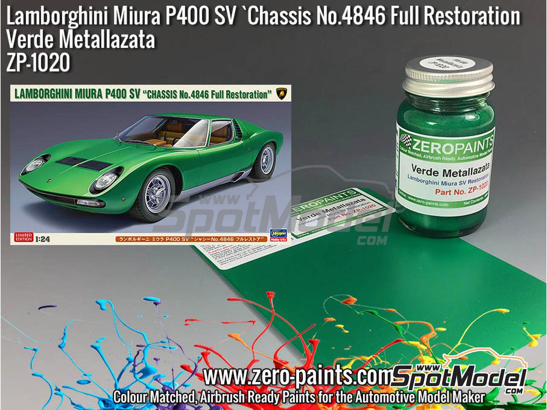 Image 1: Lamborghini Miura P400 SV Full Restoration Verde Metallazata Green - Code: 4846 - 1 x 60ml   Paint manufactured by Zero Paints (ref.ZP-1020-4846)