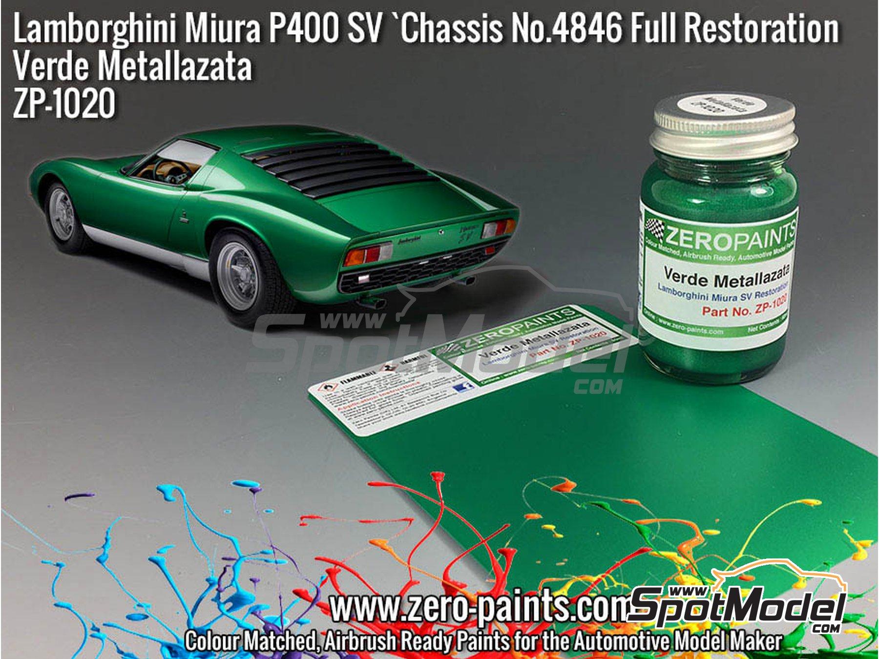 Image 2: Lamborghini Miura P400 SV Full Restoration Verde Metallazata Green - Code: 4846 - 1 x 60ml   Paint manufactured by Zero Paints (ref.ZP-1020-4846)