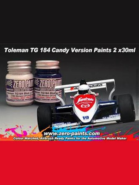 Toleman TG184 Candy white and blue paint - 2 x 30ml | Paints set manufactured by Zero Paints (ref. ZP-1076) image