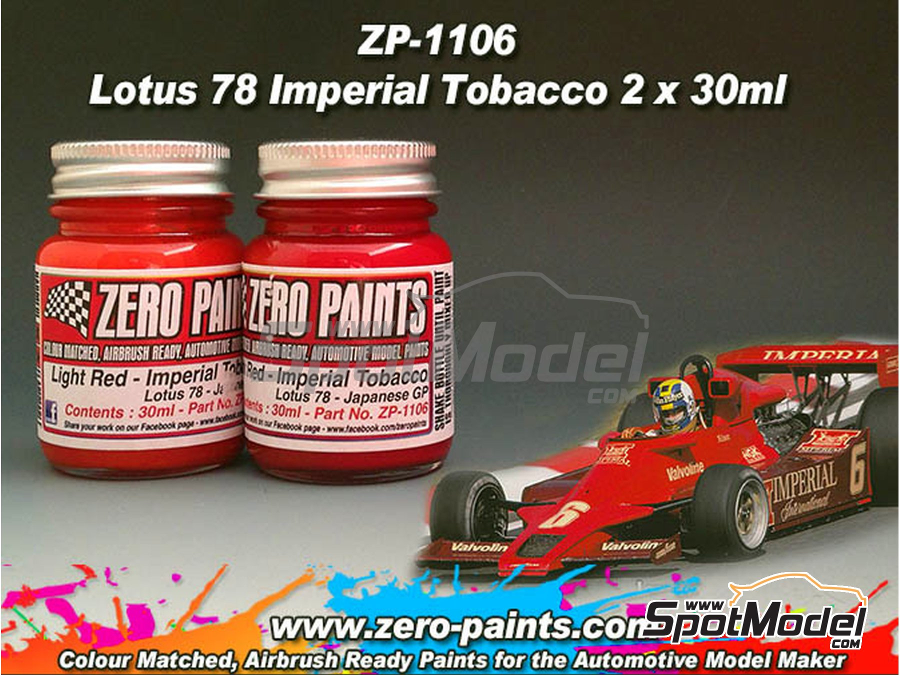 Image 2: Lotus 78 Imperial Tobacco - Japanesse Gran Prix - Red + Red - 2 x 30ml | Paints set manufactured by Zero Paints (ref. ZP-1106)