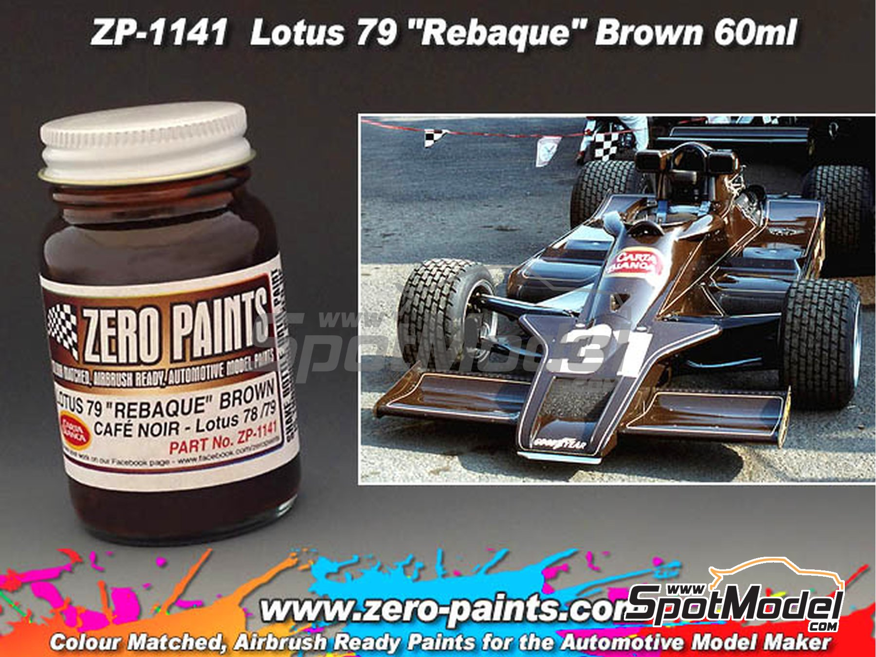 Image 2: Marron - Lotus 79 Rebaque Brown Matched Paint - 1 x 60ml   Pintura fabricado por Zero Paints (ref.ZP-1141)