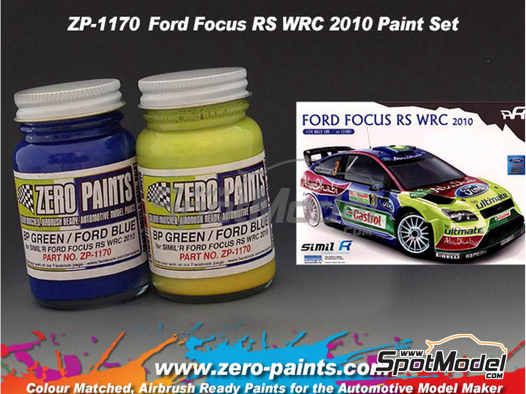 Image 2: Ford Focus RS WRC 2010 - Verde + Azul - 2 x 30ml | Set de pinturas fabricado por Zero Paints (ref.ZP-1170)