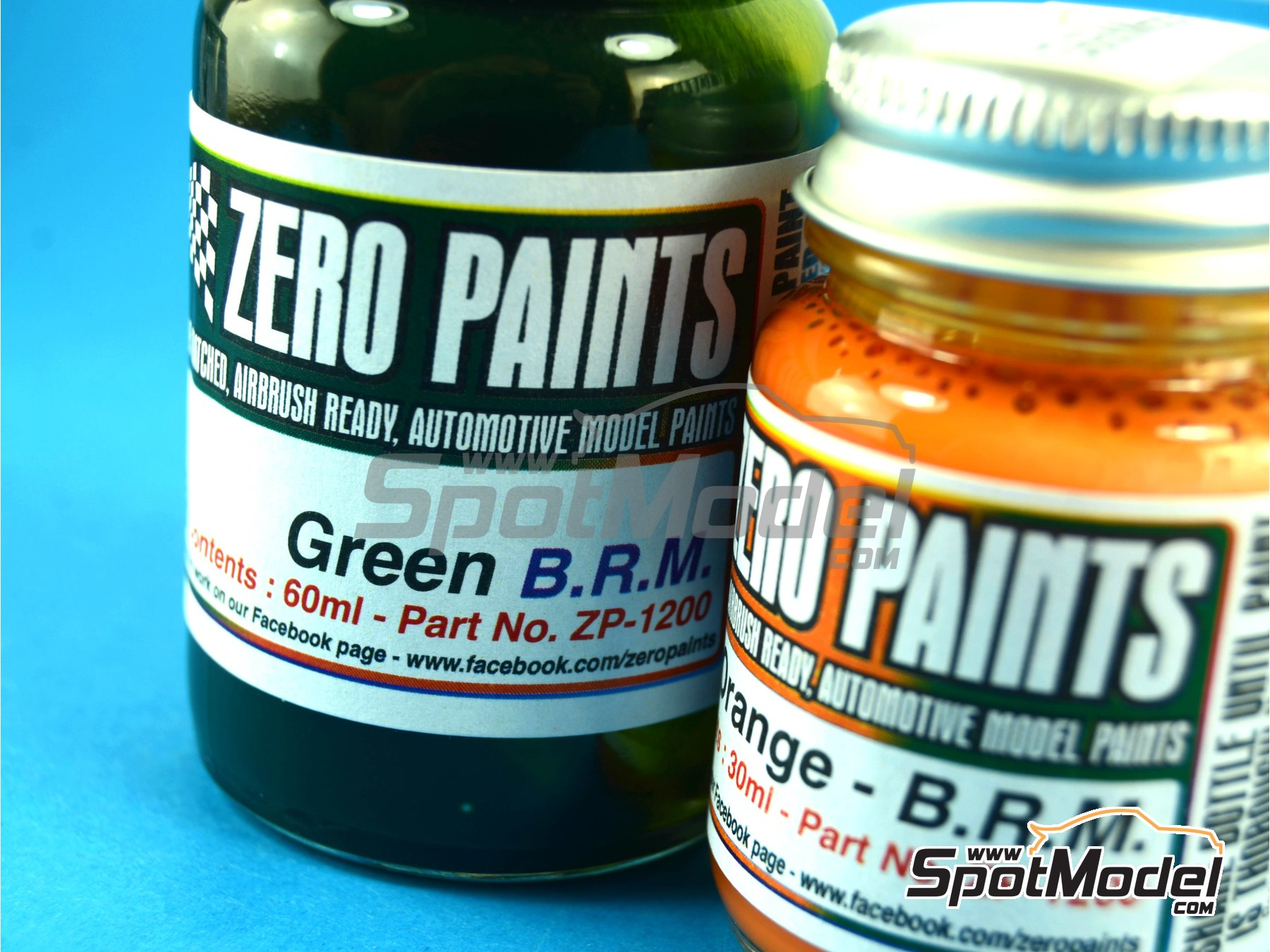 Image 1: Verde + Naranja BRM Racing Green + Orange - 1 x 30ml + 1 x 60ml | Set de pinturas fabricado por Zero Paints (ref.ZP-1200)