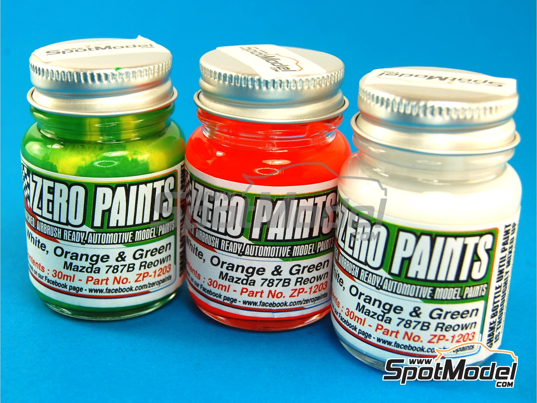 Image 1: Mazda 787B Renown - White +  Orange + Green - 3 x 30ml   Paints set manufactured by Zero Paints (ref.ZP-1203)