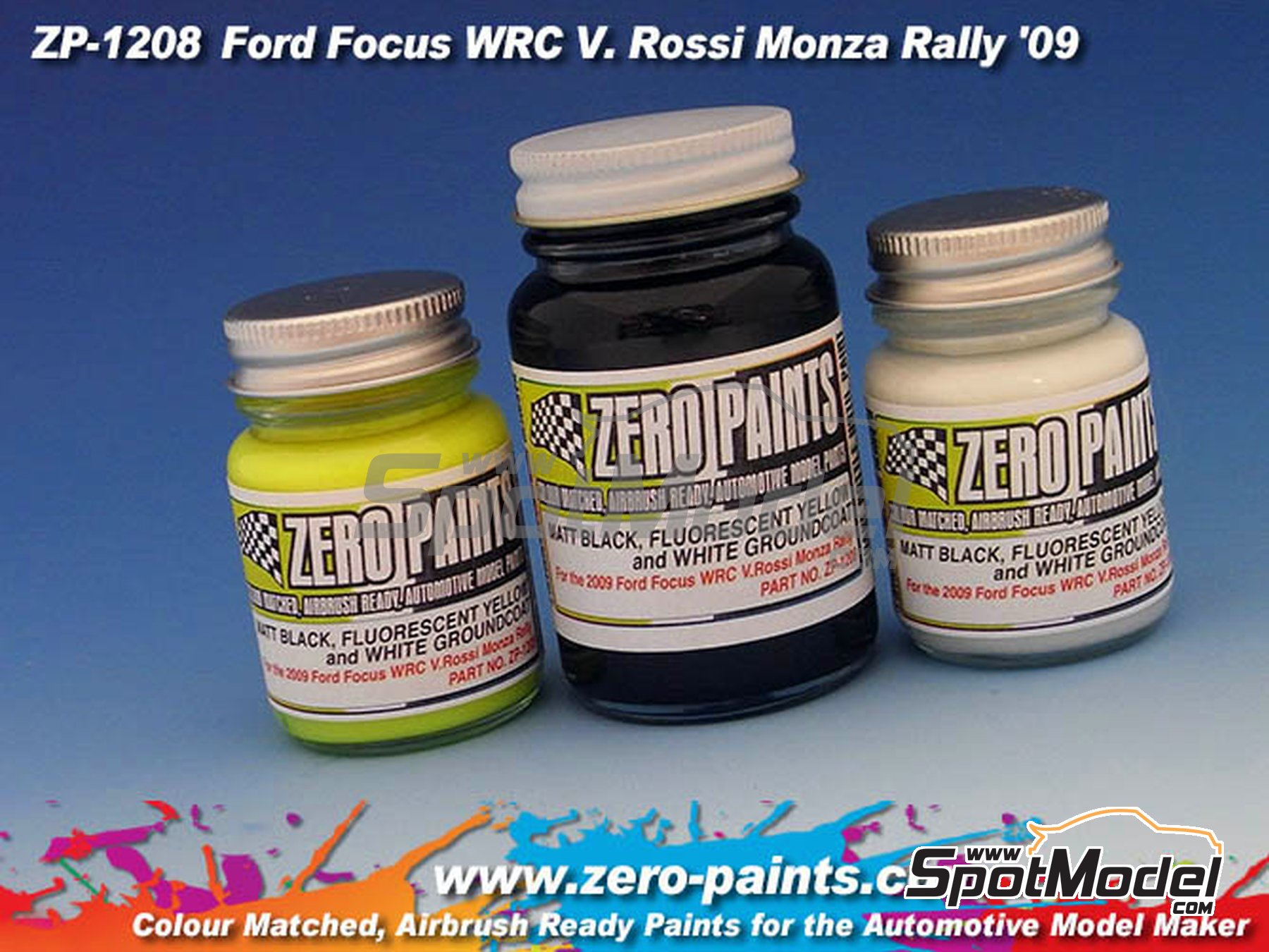 Image 2: Ford Focus WRC V. Rossi Monza Rally '09 - 2 x 30ml + 1 x 60ml | Paints set manufactured by Zero Paints (ref.ZP-1208)