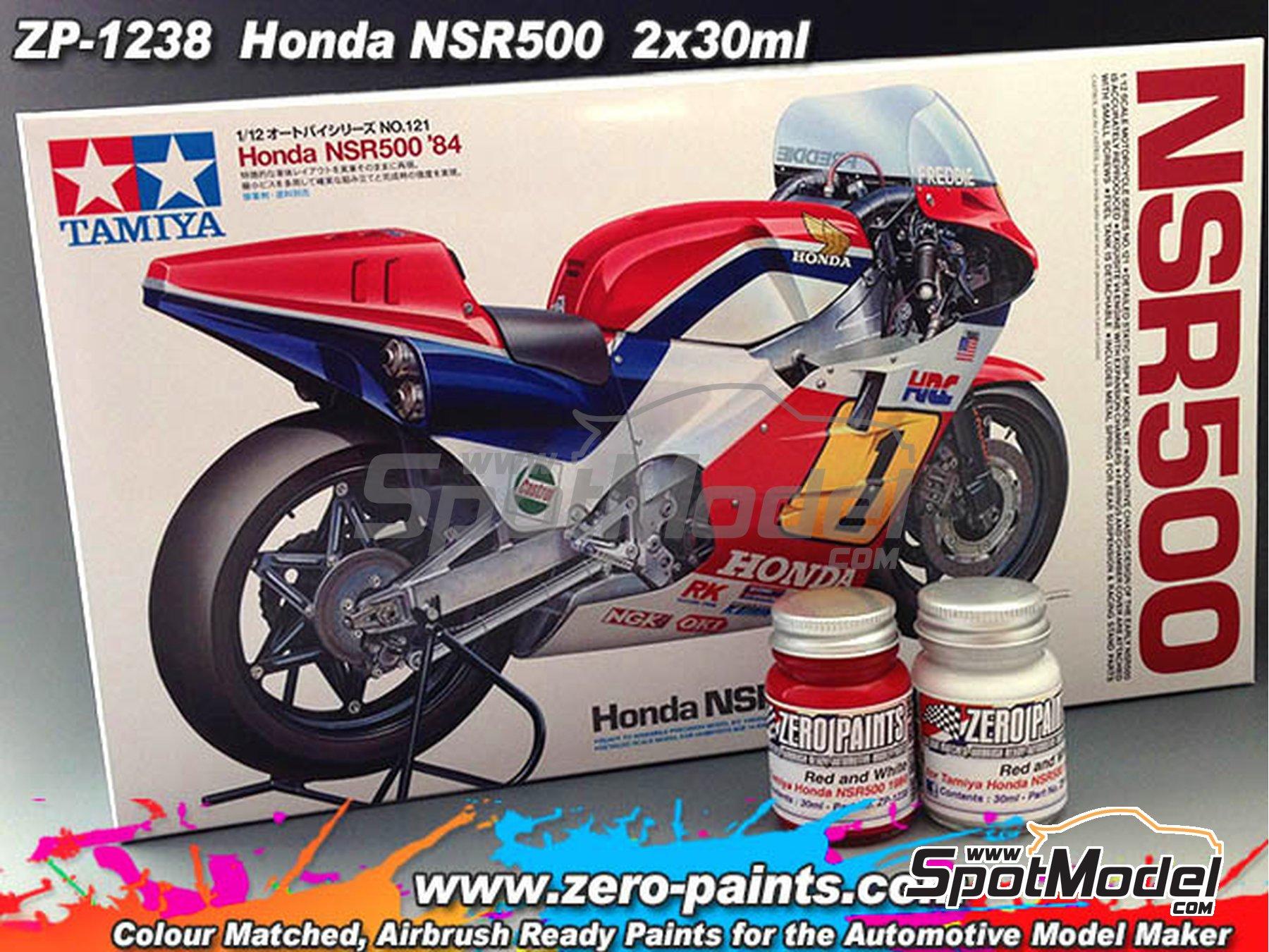 Image 2: Honda NSR500 1984 - Red + white - Rojo + blanco - 2 x 30ml | Set de pinturas fabricado por Zero Paints (ref.ZP-1238)