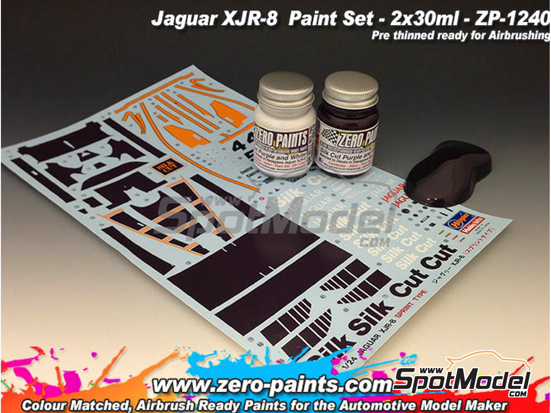 Image 2: Jaguar XJR-8 Silk Cut - Purple + white - Purpura + blanco - 2 x 30ml | Set de pinturas fabricado por Zero Paints (ref. ZP-1240)