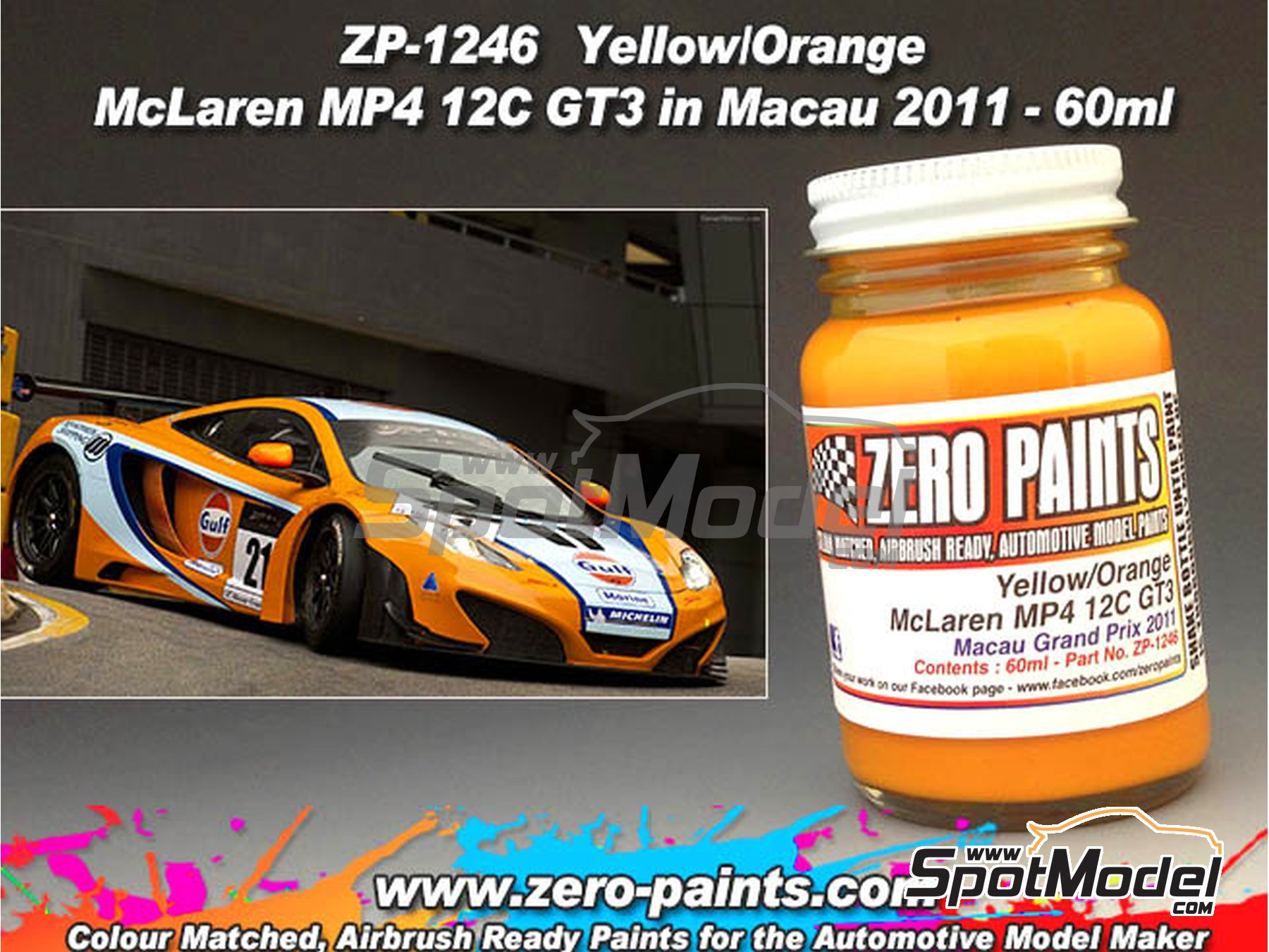 Image 1: McLaren MP4 12C GT3 Macau -  2011 - 1 x 60ml | Paint manufactured by Zero Paints (ref.ZP-1246)