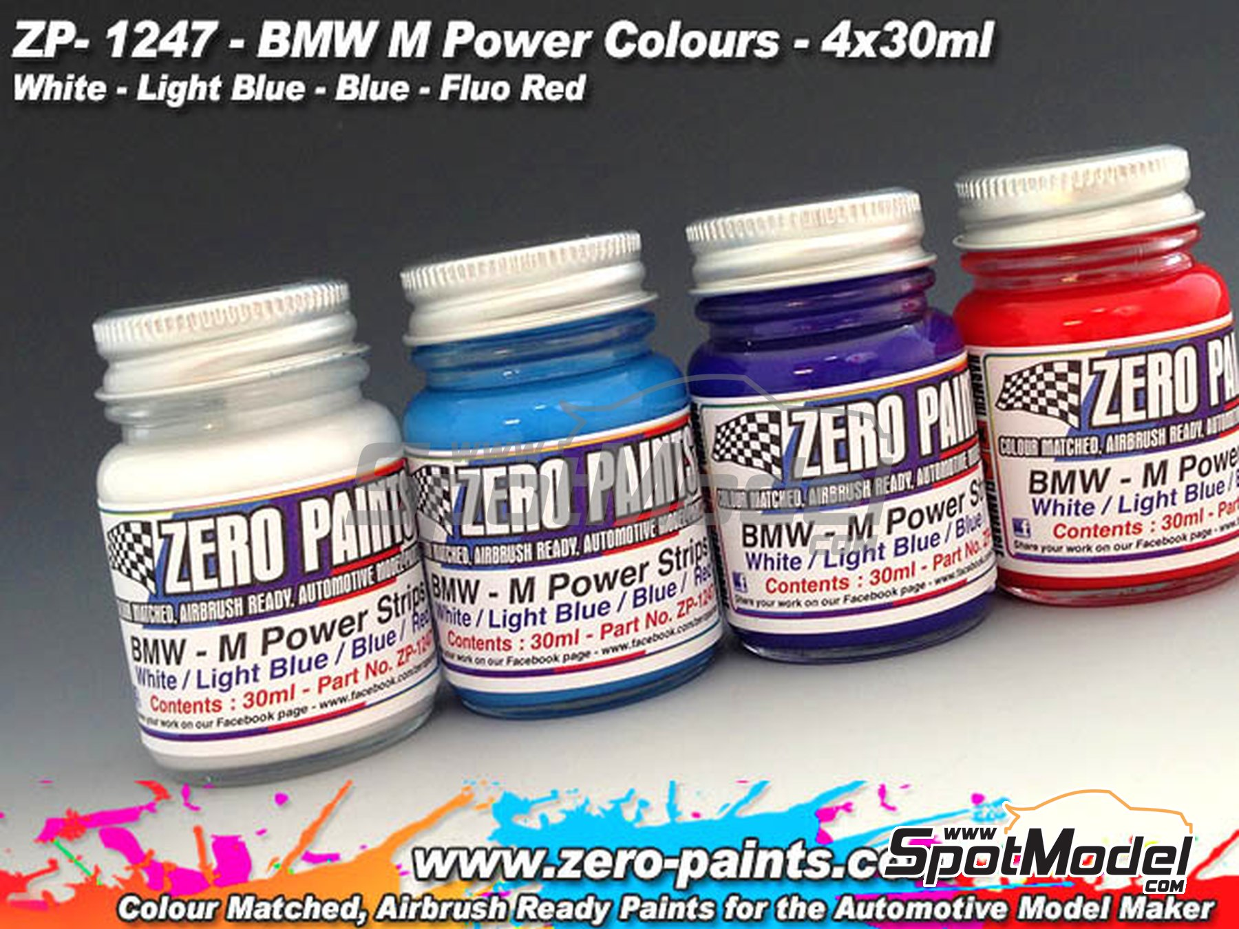 Image 1: BMW M Power - White + light blue + Blue + Fluo Red - 4x30ml | Paints set manufactured by Zero Paints (ref. ZP-1247)