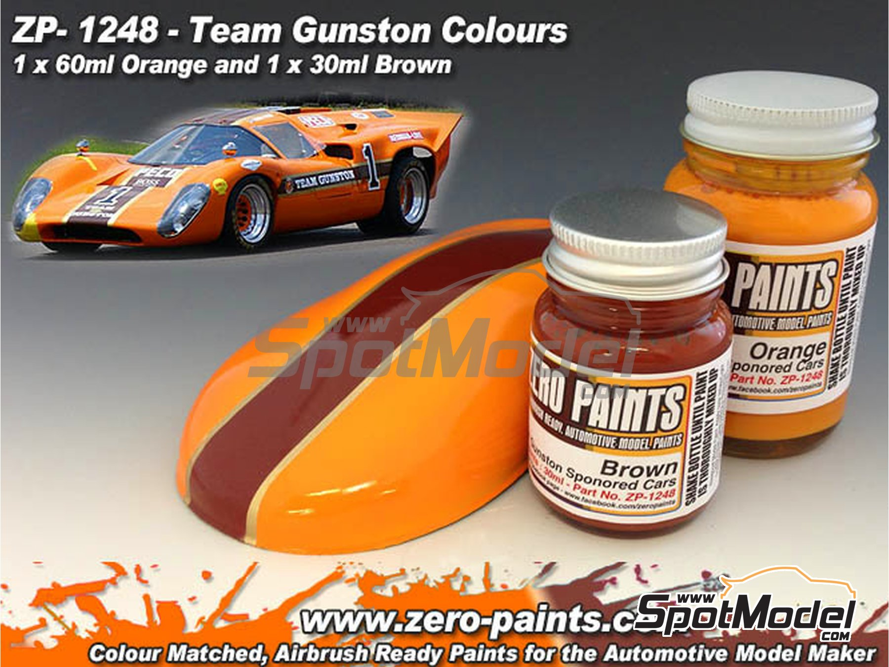Image 1: Team Gunston orange + brown - 2 x 30ml | Paints set manufactured by Zero Paints (ref. ZP-1248)