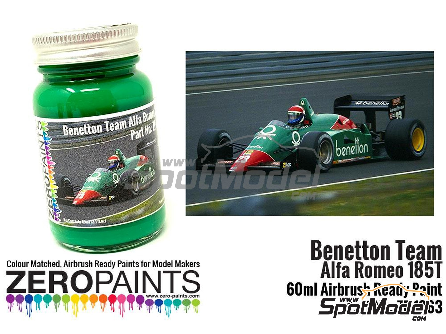 Image 1: Verde Benetton - Benetton Team Alfa Romeo 185T Green United Colors of Benetton - 1 x 60ml | Pintura fabricado por Zero Paints (ref.ZP-1263)