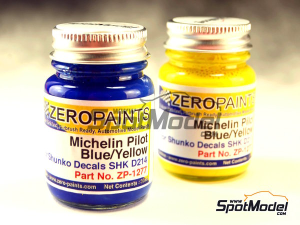 Image 1: Ford Escort WRC Michelin Pilot - Blue + Yellow - 2 x 30ml | Paints set manufactured by Zero Paints (ref. ZP-1277)