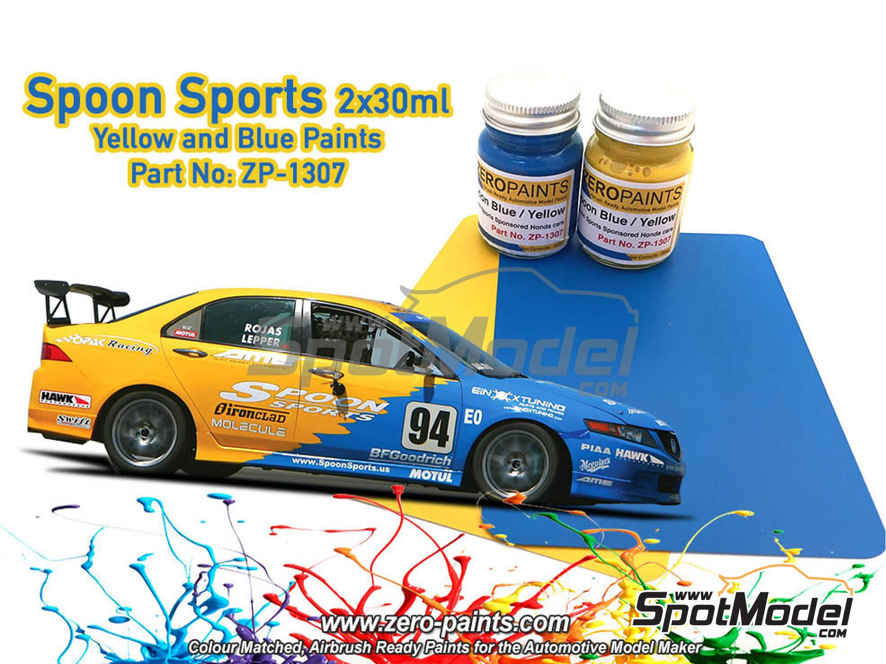 Image 1: Azul y amarillo Spoon Sports - 2x30ml | Set de pinturas fabricado por Zero Paints (ref. ZP-1307)