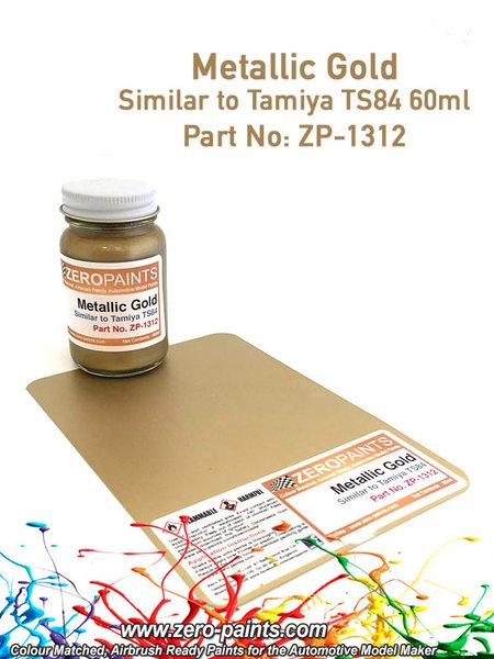 Metallic Gold Paint - Similar to TS-84 - 1 x 60ml | Paint manufactured by Zero Paints (ref.ZP-1312) image