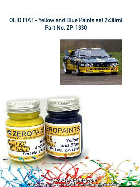 Olio Fiat - Yellow and blue - 2 x 30ml | Paints set manufactured by Zero Paints (ref.ZP-1330) image