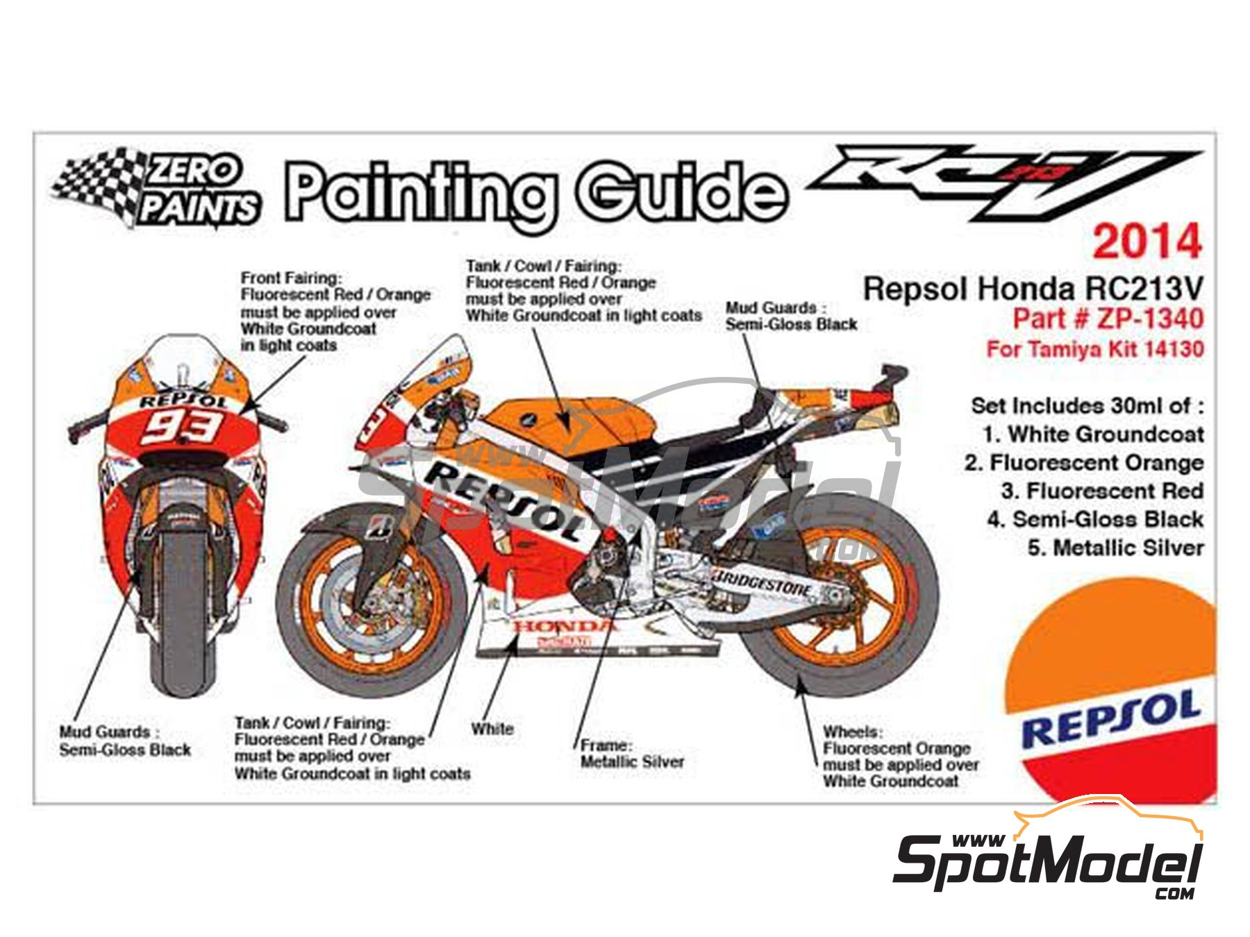 Image 2: Honda RC213V -  2014 - 5 x 30ml | Set de pinturas fabricado por Zero Paints (ref.ZP-1340)
