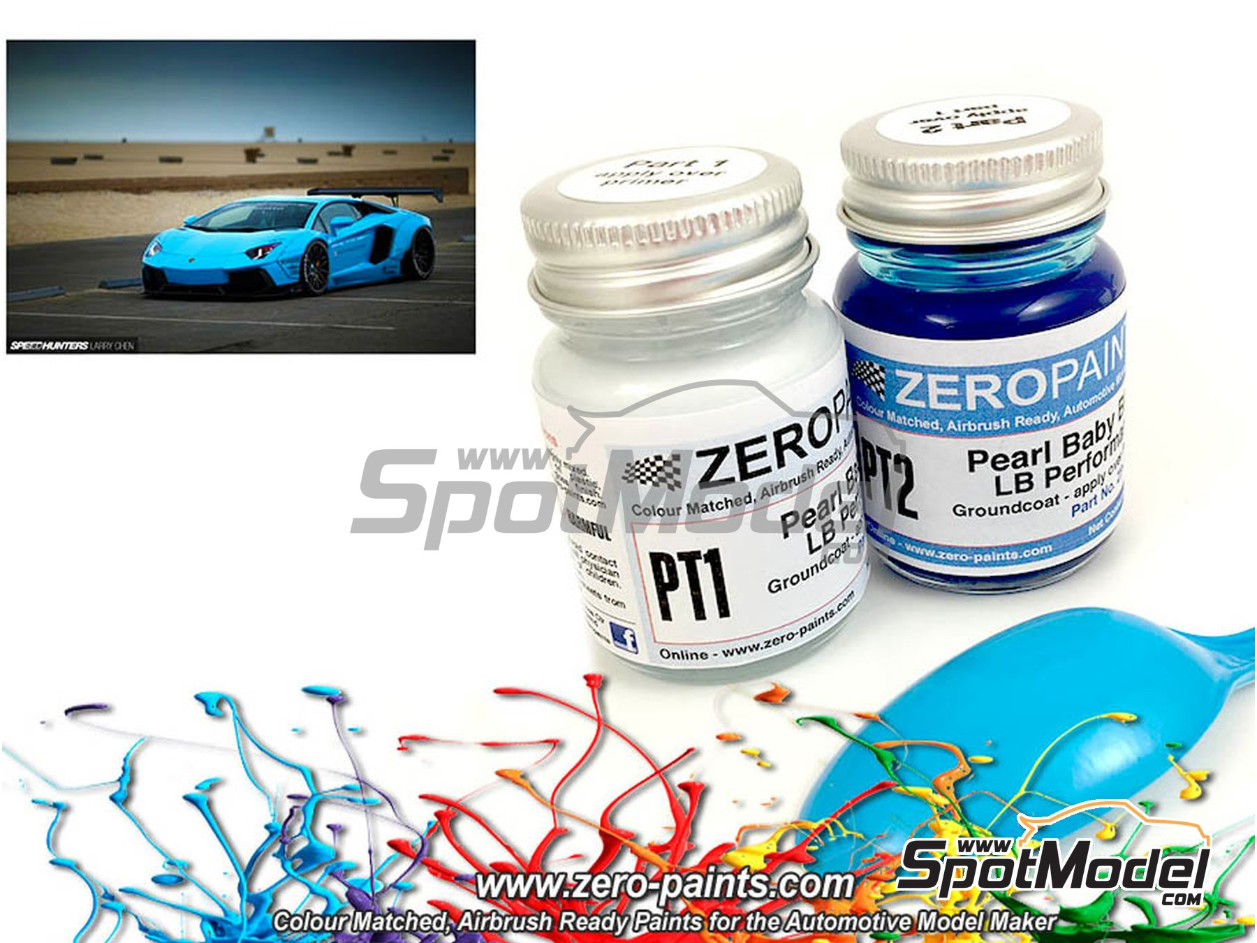 Image 1: Lamborghini LB Performance Pearl Baby Blue - 2x30ml | Paints set manufactured by Zero Paints (ref. ZP-1341)