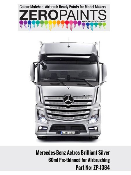 Plateado Mercedes-Benz Actros Brilliant Silver - 1 x 60ml | Pintura fabricado por Zero Paints (ref.ZP-1384) image