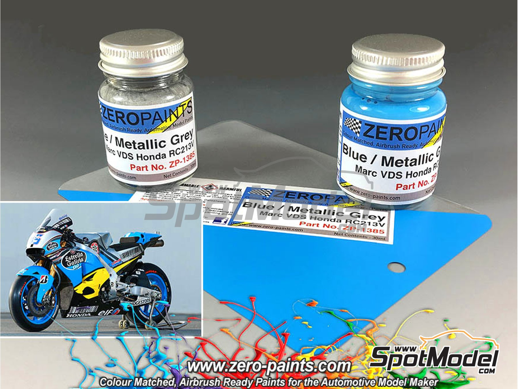 Image 1: Marc VDS team blue and metallic grey - 2 x 30ml | Paints set manufactured by Zero Paints (ref. ZP-1385)
