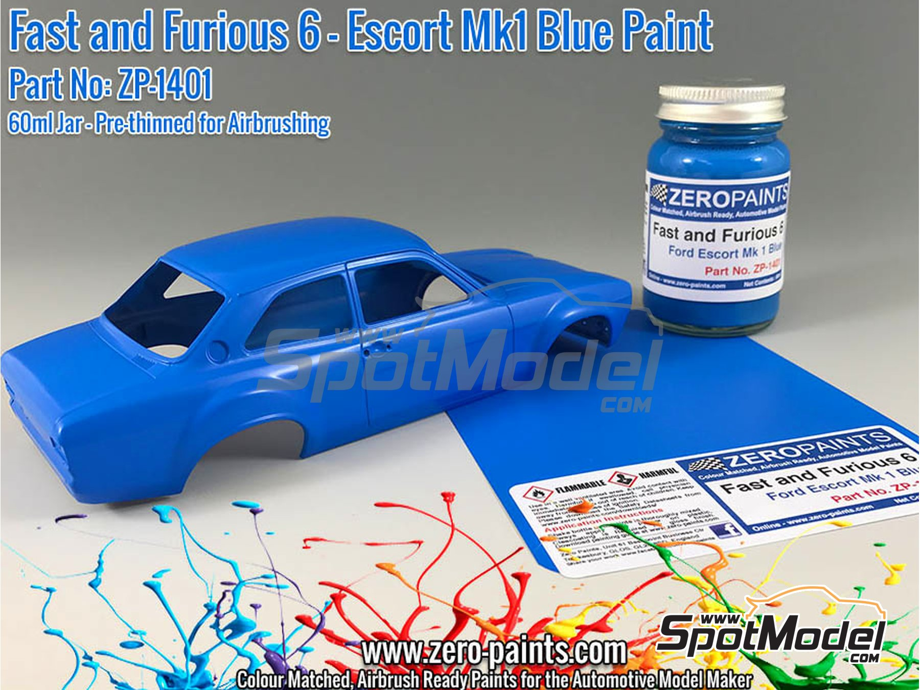 Image 1: Fast and Furious 6 Ford Escort Mk 1 Blue - 60ml | Paint manufactured by Zero Paints (ref. ZP-1401)