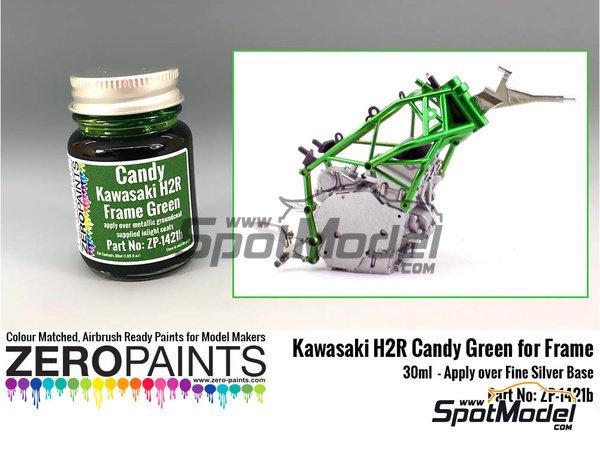 Image 1: Verde para el chasis de la Kawasaki Ninja H2R | Pintura en escala1/24 fabricado por Zero Paints (ref.ZP-1421b)