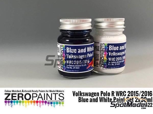 Image 1: Azul y blanco para Volkswagen Polo R WRC 2015/2016 | Set de pinturas fabricado por Zero Paints (ref.ZP-1422)