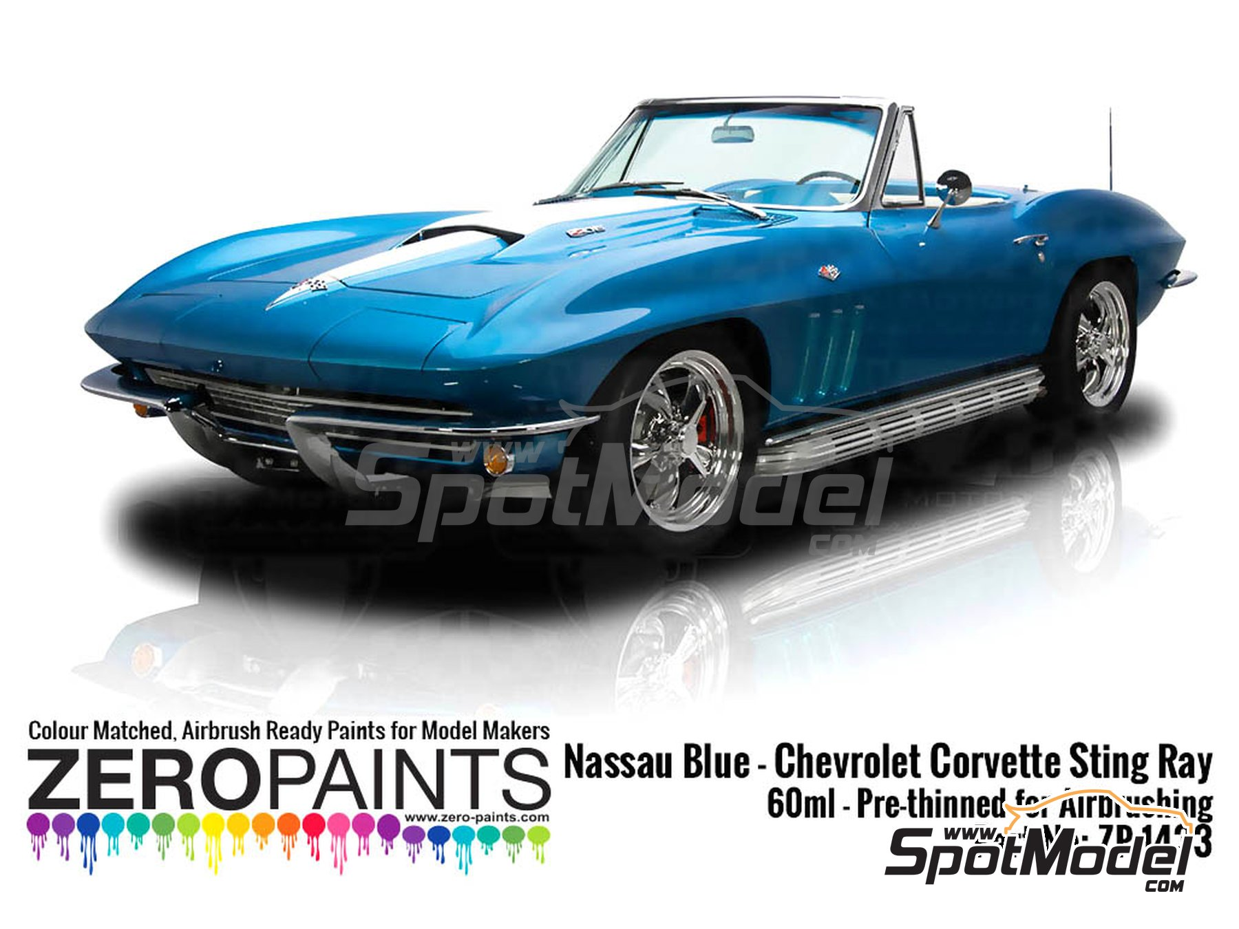 Image 1: Nassau Blue for Chevrolet Corvette Stingray -  1965 | Paint manufactured by Zero Paints (ref. ZP-1433)