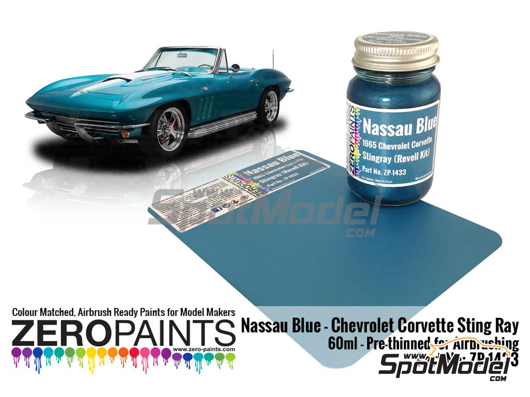 Image 2: Nassau Blue for Chevrolet Corvette Stingray -  1965 | Paint manufactured by Zero Paints (ref. ZP-1433)